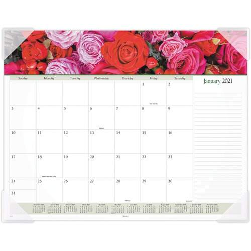 AT-A-GLANCE 89805 Panoramic Floral Image Monthly Desk Pad