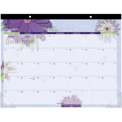 AT-A-GLANCE 5035 Paper Flowers Monthly Desk Pad