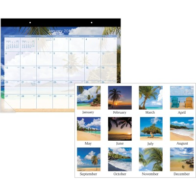 AT-A-GLANCE DMDTE232 Tropical Escape Desk Pad Calendar