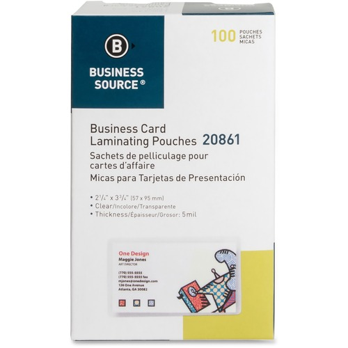 Business Source 20861 Business Card Laminating Pouch