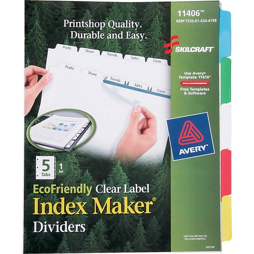 AbilityOne 4344198 5-tab Clear Label Index Maker Dividers