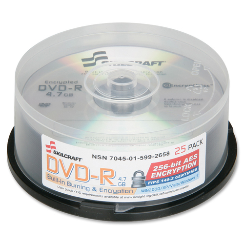 AbilityOne 5992658 Encrypted DVD-R Spindle
