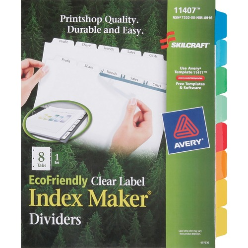AbilityOne 6006970 8-Tab Set Index Maker Dividers