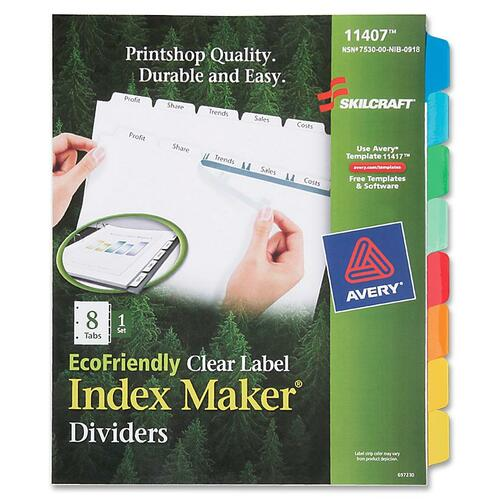 AbilityOne 6006978 8-Tab Clear Label Index Maker Dividers