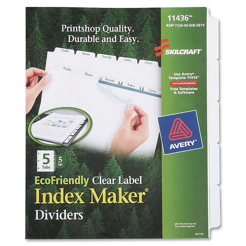 AbilityOne 6006981 5-tab Index Maker Dividers