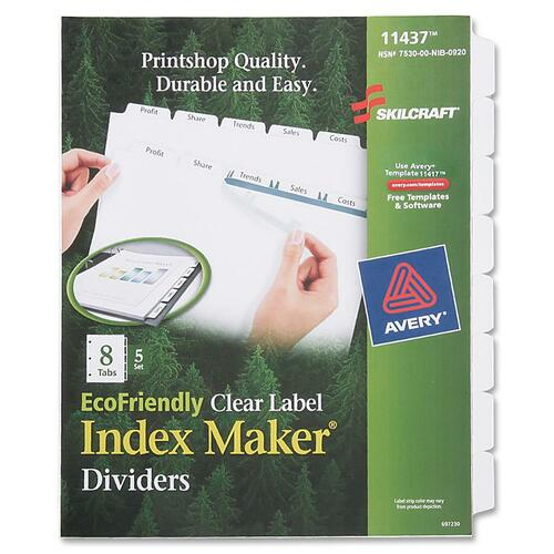 AbilityOne 6006982 8-Tab Clear Label Index Maker Dividers