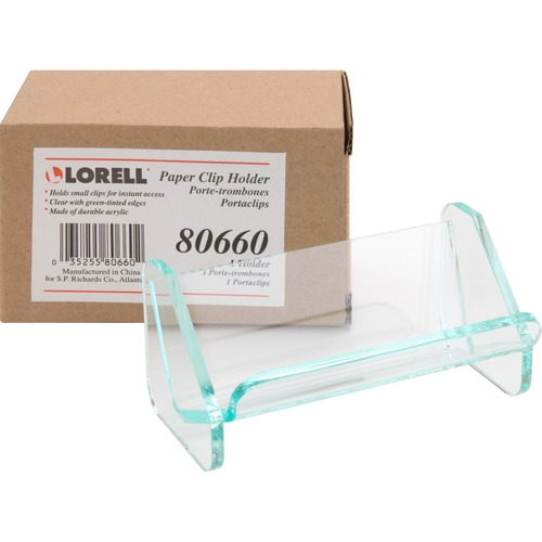 Lorell 80660 Acrylic Transp Green Edge Paper Clip Holder