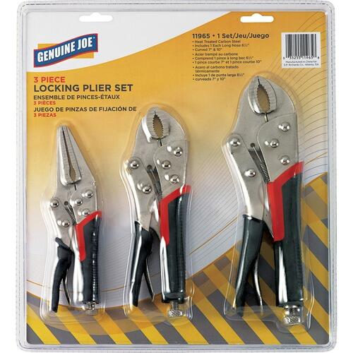 Genuine Joe 11965 3 Piece Locking Plier Set