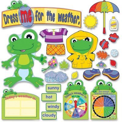 Carson-Dellosa 110208 FUNky Frog Weather Bulletin Board Set