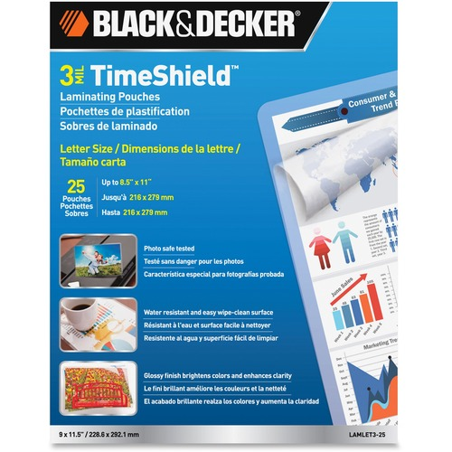 Black & Decker LAMLET325 TimeShield Thermal Laminating Pouches Letter