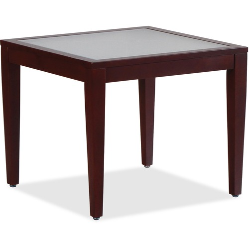 Lorell 59541 Glass Top Mahogany Frame Table