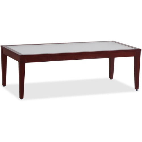 Lorell 59542 Glass Top Mahogany Frame Table
