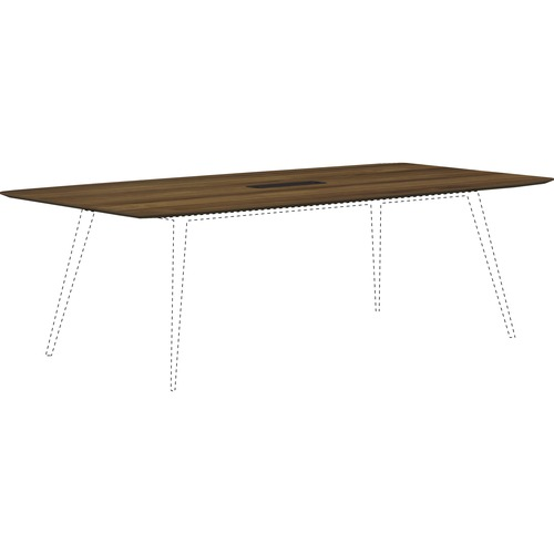 Lorell 59584 Walnut Laminate Rectangular Conference Tabletop with Wire Management