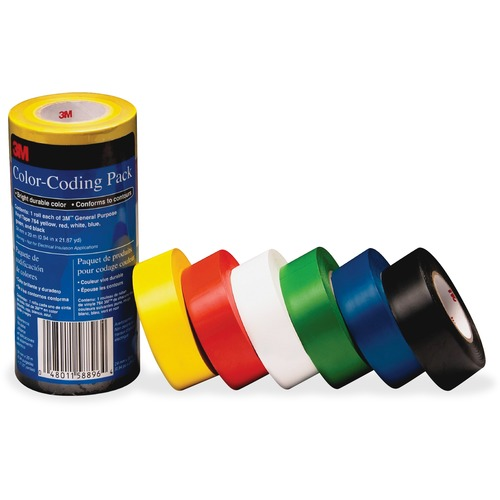 3M 7641226PK Vinyl Tape 764 Color-coding Pack