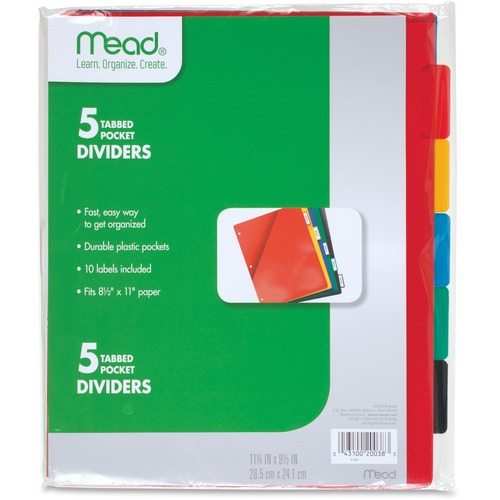 Acco 20038 5 Tabbed Pocket Dividers