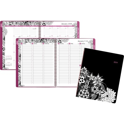 AT-A-GLANCE 589905 FloraDoodle Weekly/Monthly Appointment Book