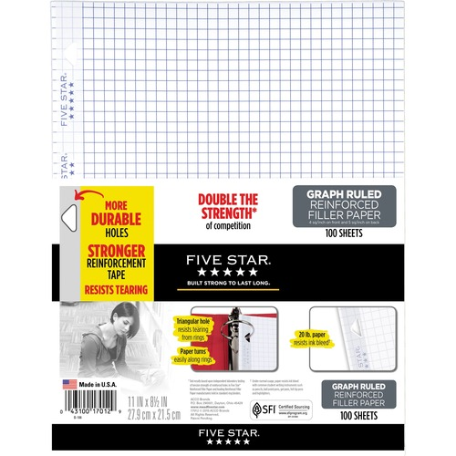 Acco Reinforced Graph Filler Paper 100 Sheets (17012)