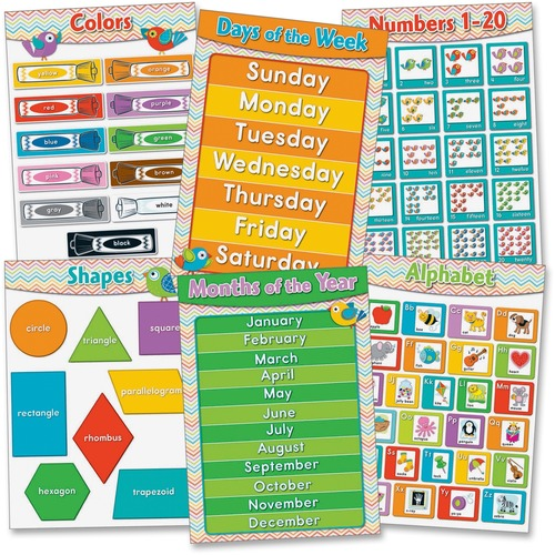 Carson-Dellosa 110256 Chevron Basic Skills Bulletin Board Set
