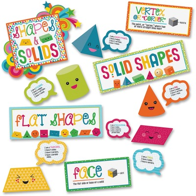 Carson-Dellosa 110327 School Pop Shapes/Solids Bulletin Brd Set
