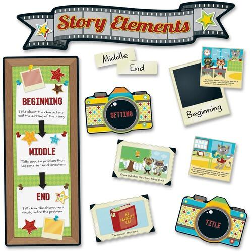 Carson-Dellosa 110335 Hipster Story Elements Bulletin Board Set