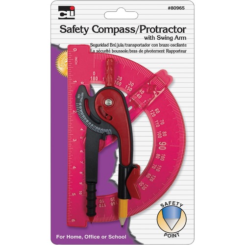 CLI 80965ST Swing Arm Safety Compass/Protrctr