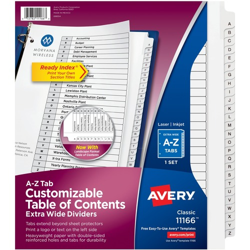Avery 11166 Extra Wide A Z Tabs Ready Index Dividers