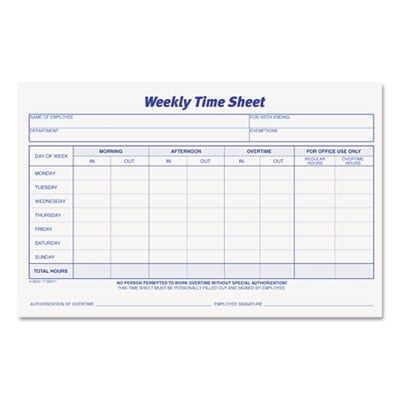 Tops Business Forms 30071 TOPS Weekly Time Sheets