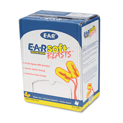 3M 3111252 EARsoft Yellow Neon Blasts Soft Foam Earplugs
