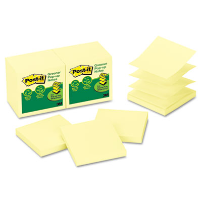 Post-it R330RP12YW Greener Notes Original Recycled Pop-up Notes