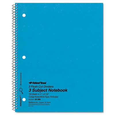 Rediform 33386 National Brand Three-Subject Wirebound Notebooks