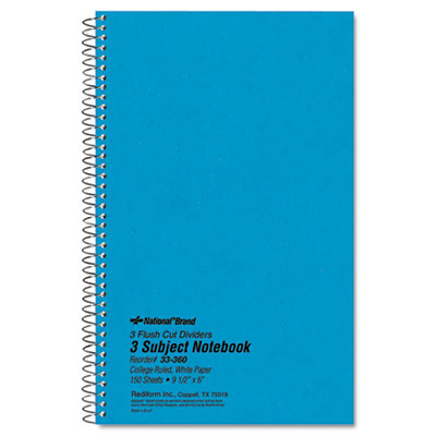 Rediform 33360 National Brand Three-Subject Wirebound Notebooks