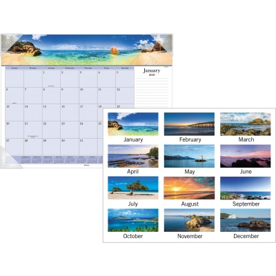AT-A-GLANCE DMD14132 Images Of The Sea Monthly Desk Pad Calendar