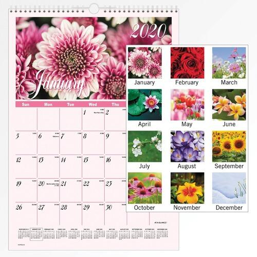 AT-A-GLANCE DMW30028 Flower Garden Monthly Wall Calendar