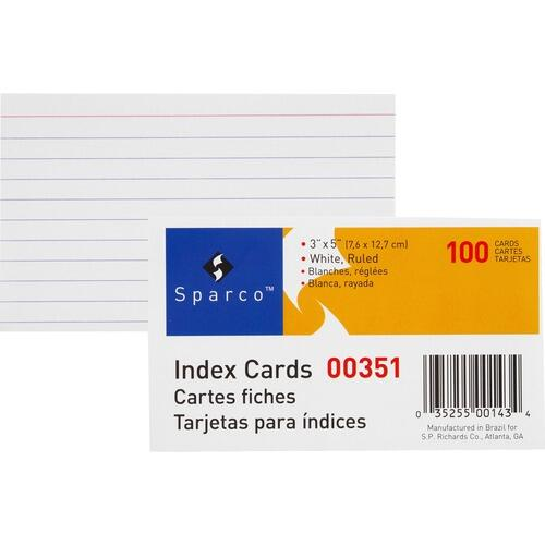 Sparco 00351 Ruled Index Cards