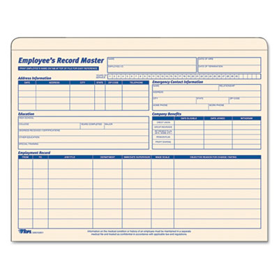 Tops Business Forms 32801 TOPS Employee Record Master File Jacket