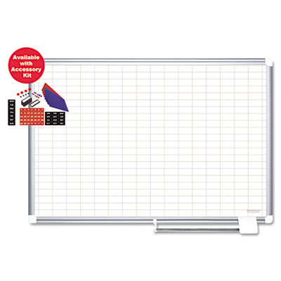 Bi-Silque Visual Communication Products CR0830830A MasterVision Grid Platinum Plus Magnetic Porcelain Dry Erase Board