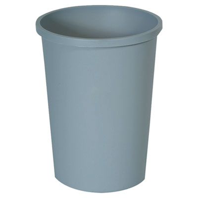 Rubbermaid 2947GRA Commercial Untouchable Large Plastic Round Waste Receptacle