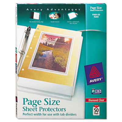 Avery 74203 Page Size Heavyweight Three-Hole Punched Clear Sheet Protector