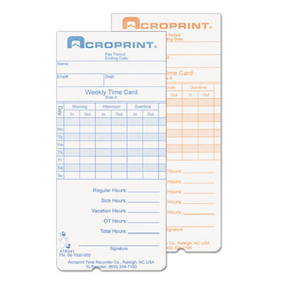Acroprint 097000000 Cards for Model ATR240 and ATR360 Top Loading Time Clocks