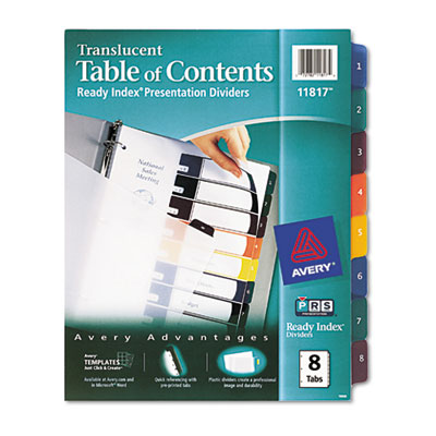 Avery Customizable TOC Ready Index Plastic Multicolor Dividers, 8-Tab,  Letter (11817)