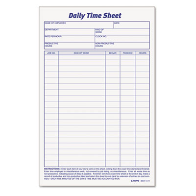 Tops Business Forms 30041 TOPS Daily Time and Job Sheets