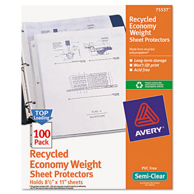 Avery 75537 Recycled Economy Weight Clear and Semi Clear Sheet Protector