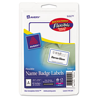 Avery 5151 flexible self adhesive name badge labels for Avery id badge template