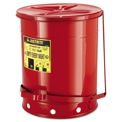 JUSTRITE Red Oily Waste Can 09500