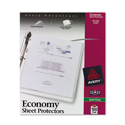 Avery 74101 Standard and Economy Weight Clear and Semi-Clear Sheet Protector