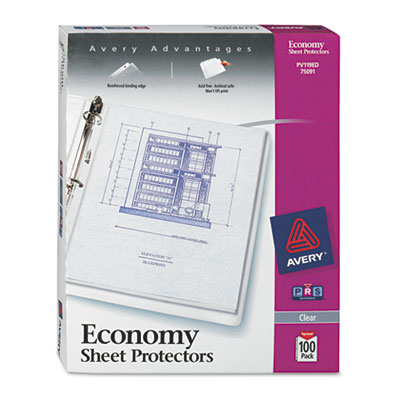 Avery 75091 Standard and Economy Weight Clear and Semi-Clear Sheet Protector