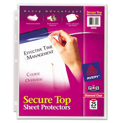Avery 76000 Secure Top Super Heavyweight Diamond Clear Sheet Protector