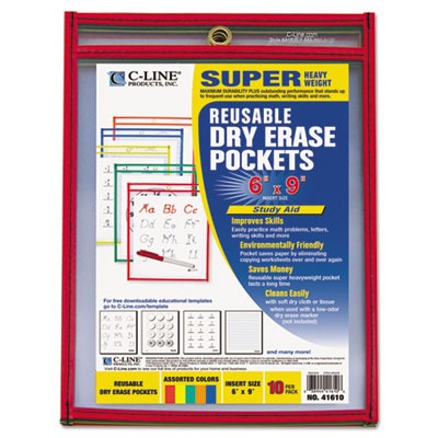 C-Line 41610 Reusable Dry Erase Pockets