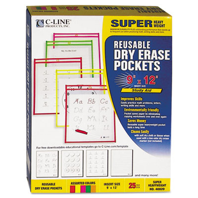C-Line 40820 Reusable Dry Erase Pockets
