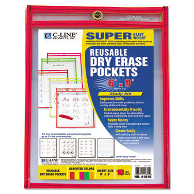 C-Line 41810 Reusable Dry Erase Pockets